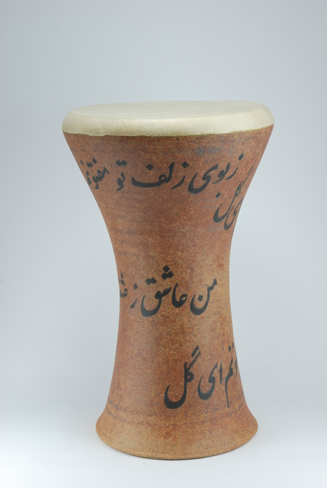 Professional quality hand made ceramic drum decorated with poem of Baba Taher made by Rowshan Dowlatabadi.   (Head:20 cm, Height:36 cm, Skin: Goat)  <hr>Price: $200