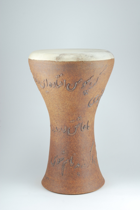 Professional quality hand made ceramic drum decorated with poem of Hafez made by Rowshan Dowlatabadi.   (Head: 19 cm, Height:37 cm, Skin: Goat)  <hr>Price: $210