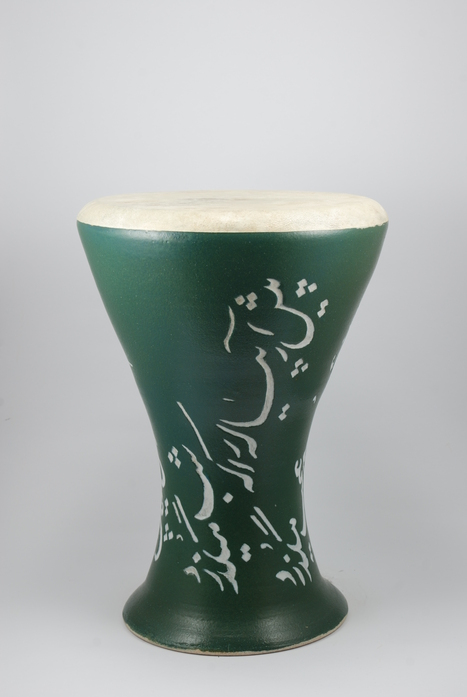 Professional quality hand made ceramic drum decorated with poem of Omar Khayyam made by Rowshan Dowlatabadi.