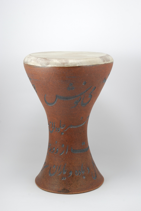 Professional quality hand made ceramic drum decorated with poem of Omar Khayyam made by Rowshan Dowlatabadi.  (Head:20 cm, Height: 36 cm, Skin: Calf)  <hr>Price: $200