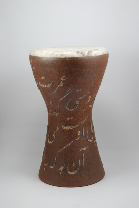 Professional quality hand made ceramic drum decorated with poem of Omar Khayyam made by Rowshan Dowlatabadi.   (Head:20 cm, Height:38 cm, Skin: Calf)  <hr>Price: $210