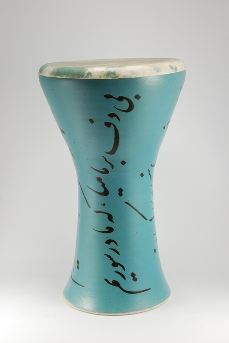 Professional quality hand made ceramic drum decorated with poem of Rumi made by Rowshan Dowlatabadi.   (Head:21 cm, Height:41 cm, Skin: Calf)   <hr>Price: Sold