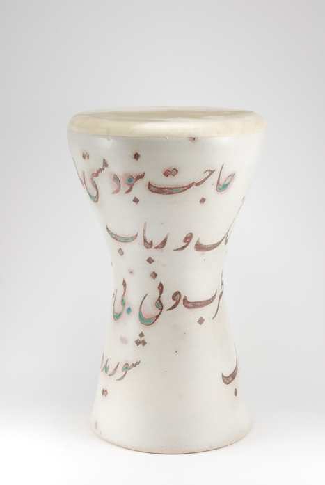 Professional quality hand made ceramic drum decorated with poem of Rumi made by Rowshan Dowlatabadi.   (Head:19 cm, Height: 35 cm, Skin: Calf)  <hr>Price: $190
