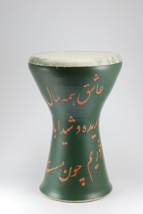 Professional quality hand made ceramic drum decorated with poem of Rumi made by Rowshan Dowlatabadi.   (Head: 20 cm, Height: 35 cm, Skin: Goat)   <hr>Price: $200