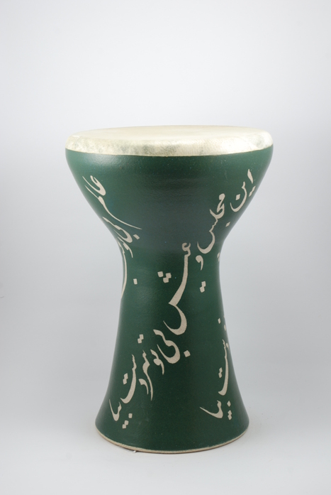 Professional quality hand made ceramic drum decorated with poem of Rumi made by Rowshan Dowlatabadi.   (Head: 21 cm, Height: 35 cm, Skin: Goat)  <hr>Price: $190