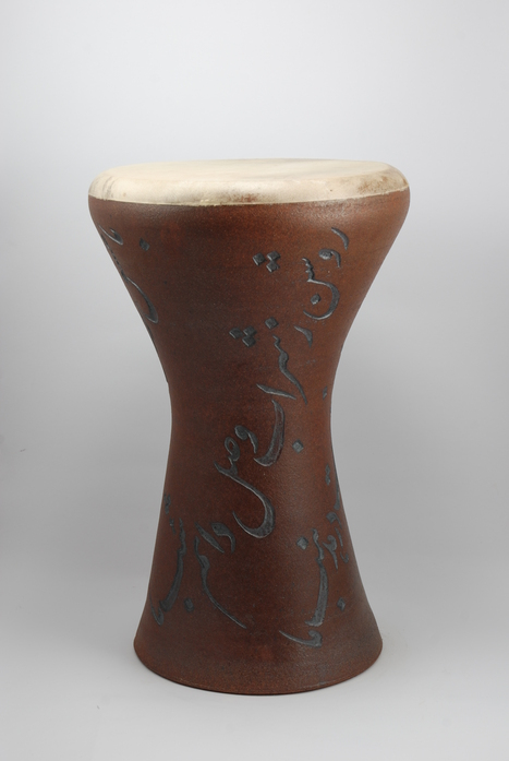 Professional quality hand made ceramic drum decorated with poem of Rumi made by Rowshan Dowlatabadi.   (Head: 21 cm, Height: 38 cm, Skin: Goat)  <hr>Price: $210