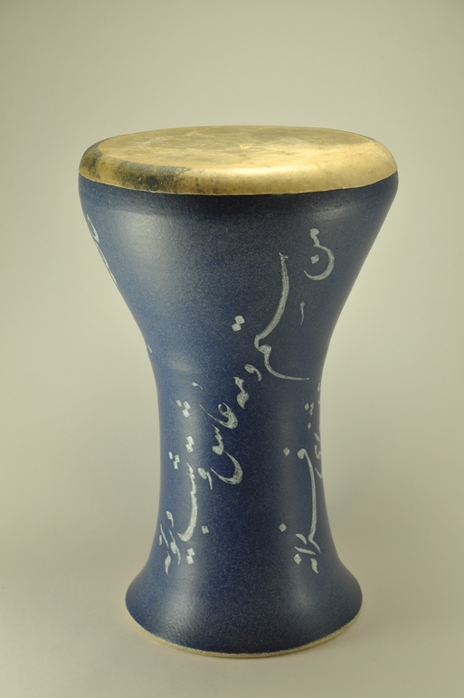 Professional quality hand made ceramic drum decorated with poem of Rumi made by Rowshan Dowlatabadi.   (Head:210cm, Height:36 cm, Skin: Goat)  <hr>Price: $190