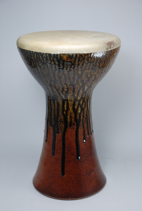 Professional quality hand made ceramic drum made by Rowshan Dowlatabadi. 