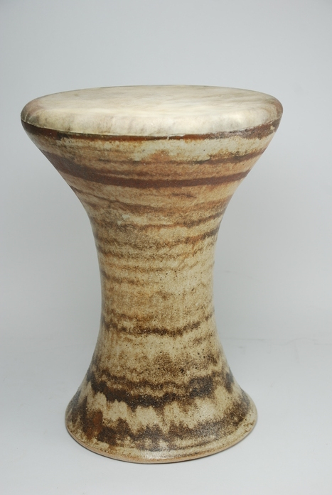 Professional quality hand made ceramic drum made by Rowshan Dowlatabadi.   (Head: 20 cm, Height:30 cm, Skin: Goat)   <hr>Price: Sold