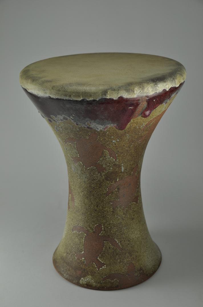 Drum_26  Professional quality hand made ceramic drum made by Rowshan Dowlatabadi.   (Head: 18 cm, Height:28 cm, Skin: Goat)  <hr>Price: $80