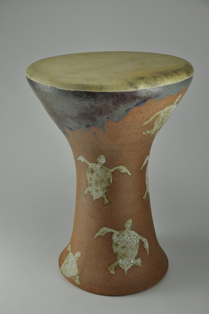 Drum_27  Professional quality hand made ceramic drum made by Rowshan Dowlatabadi.   (Head: 18.5 cm, Height:29 cm, Skin: Goat)  <hr>Price: Sold