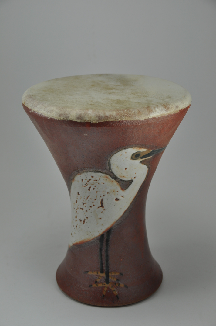 Drum_28  Professional quality hand made ceramic drum made by Rowshan Dowlatabadi.   (Head: 17.5 cm, Height:25 cm, Skin: Goat)  <hr>Price: $100