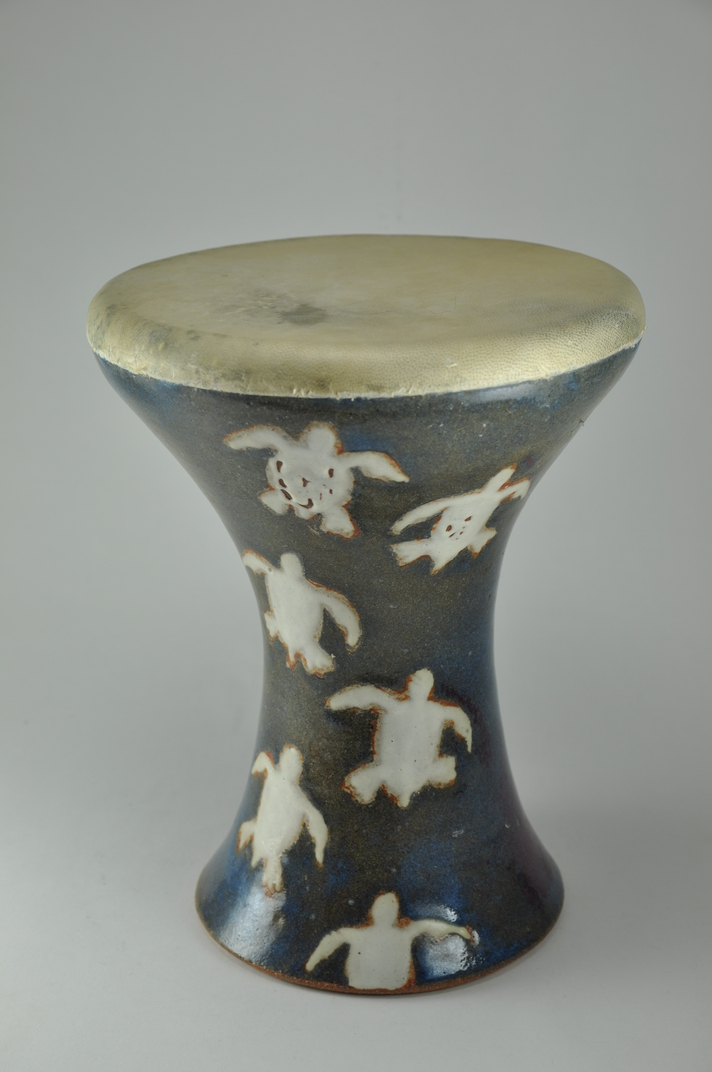 Drum_30  Professional quality hand made ceramic drum made by Rowshan Dowlatabadi.   (Head: 19 cm, Height:26 cm, Skin: Goat)  <hr>Price: $80