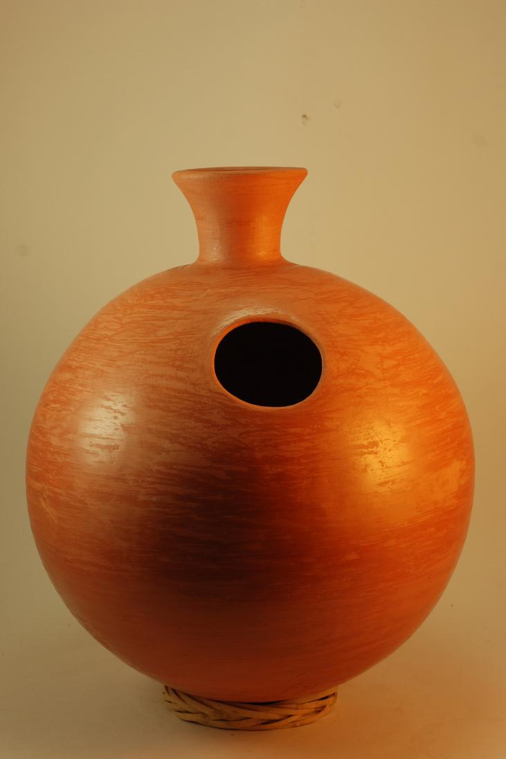 Professional quality hand made ceramic Udu (unglazed) made by Rowshan Dowlatabadi.   (Height:35.5 cm, Circumference:92.7 cm)  <hr>Price: $80