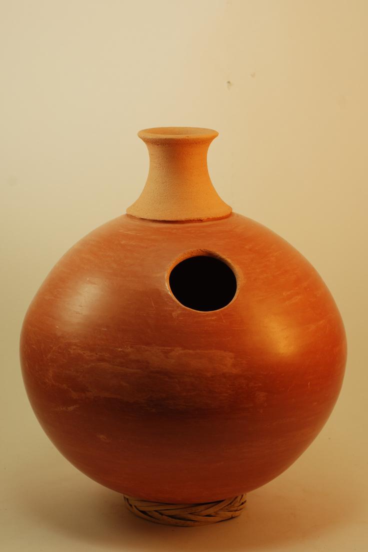 Professional quality hand made ceramic Udu (unglazed) made by Rowshan Dowlatabadi.   (Height:35 cm, Circumference:83 cm)  <hr>Price: $80
